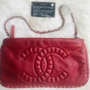 Authentic Chanel Sac Pochette in red